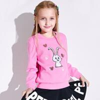 【2件3折到手价:87.6】小猪班纳女童长袖t恤秋冬中大童保暖卫衣卡通上衣