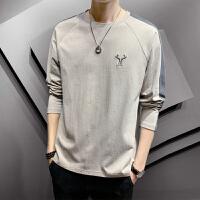 2020春新款长袖T恤男士宽松型圆领纯棉体恤衫上衣潮