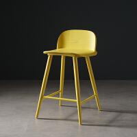 实木吧台椅吧台北欧收银凳椅子现代简约靠背高脚凳酒吧椅家用吧椅