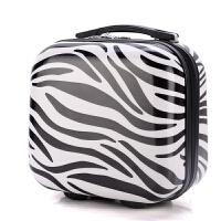 登机子母箱14寸手提箱寸化妆包迷你拉杆箱小箱旅行箱包行李箱 斑马黑 镜面有膜