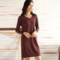 中长款羊绒衫女V领套头毛衣修身保暖长袖针织打底羊毛连衣裙