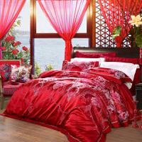 【暑期清凉季 爆款直降】富安娜家纺 婚庆结婚四件套色织提花正红床上用品 幸福纪念日 红色 1.8米床(6英尺)