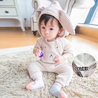 2016婴儿衣服秋冬男女宝宝毛线连帽小熊耳朵爬服新生儿长袖连体衣