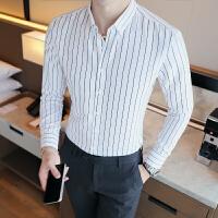 秋季长袖衬衫村杉忖寸衫男士衬衣条纹韩版修身商务正装咖啡店工装