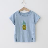 女童T恤 2018夏季新款圆领印花宝宝休闲短袖上衣 棉质T恤衫