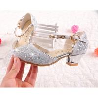 灰姑娘女童鞋小孩大童表演水晶高跟鞋儿童公主皮鞋包头银色舞蹈鞋