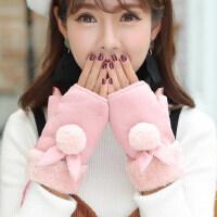 可爱卡通手套加绒加厚保暖毛线棉手套女学生触摸屏手套