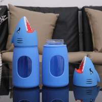 鲨鱼卡通玻璃杯手机支架创意多功能耐高温儿童水杯礼品定制杯360ML 蓝色 360ML