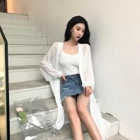 2018夏季新款中长款防晒衫空调衫上衣韩版宽松气质甜美长袖雪纺衫 均码
