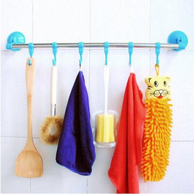 厨卫两用不锈钢杆6钩吸盘毛巾架 置物架 白色