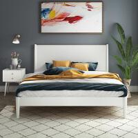实木床1.8米北欧家具白色白蜡木主卧床现代简约卧室全实木1.5双人 +床头柜*1 1800mm*2000mm 框架结构