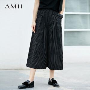 AMII极简欧货潮chic心机裙裤2018夏气质条纹显瘦高腰七分阔腿裤.