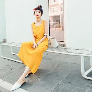 七格格吊带雪纺连衣裙女装2018新款宽松初恋裙复古气质春夏季中长款裙子