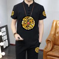 中国风男装夏季短袖套装青年大码复古龙袍印花龙纹T恤中式盘扣潮