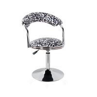 吧台椅现代简约家用旋转升降靠背椅子酒吧凳高脚圆凳子吧凳美容椅 米白色 豹纹围椅圆盘款