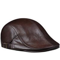 羊皮贝雷帽薄款鸭舌帽男韩版老头前进帽真皮帽子秋冬天百搭潮