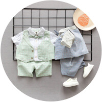 宝贝真乖 男童夏季新品童套装 韩版格子马甲蝴蝶结领结T恤三件套