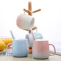 潮流韩版情侣杯子一对女学生创意陶瓷杯带盖勺水杯家用简约马克杯