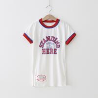女童T恤 2018夏季新款短袖T恤衫宝宝 中长款印花字母上衣休闲 白色