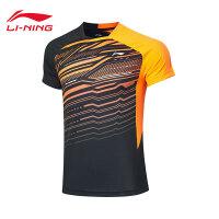 李宁羽毛球比赛服男士2019新款速干T恤女透气凉爽针织短袖运动服