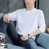 男装 220克厚长袖T恤青少年纯棉印花秋衣男宽松上衣加肥加大打底衫纯色