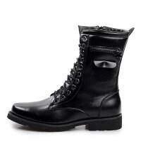 秋冬男靴子军靴男特种兵尖头高帮短靴中筒皮靴英伦潮流马丁靴 黑色
