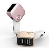 包邮 倍思 iphone7 iphone6 plus IPAD PRO 智能车载充电器 三星手机华为 双USB摇头车充 小米平板带汽车电压监测显示 2.4A+1A双接口