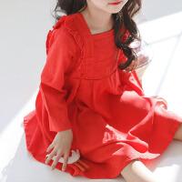 韩国童装小孩连衣裙春秋款女童长袖宽松公主裙儿童红色裙子文艺范