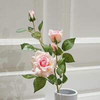 3头仿真玫瑰花落地假花客厅摆放花卉绢花仿真花束装饰花