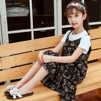 2018新款韩版童装中大儿童吊带裙碎花裙小女孩裙子女童连衣裙夏装