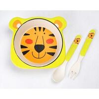 儿童餐具儿童竹纤维餐具丛林动物套装宝宝环保餐桌盘叉勺杯碗餐具 老虎三件套
