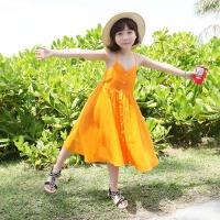 童装连衣裙儿童沙滩裙海边度假纯棉女童吊带收腰大摆亲子装长裙子