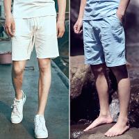2件亚麻休闲短裤男大裤衩夏季大码宽松中国风沙滩棉麻男士五分裤 X