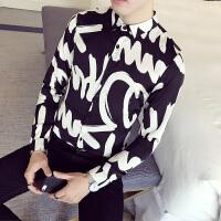 2018春季发型师个性印花长袖衬衫男韩版修身衬衣青年夜店潮流衬衫