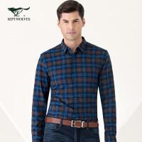 七匹狼长袖衬衫 新品 青年男士夹绒格型长袖休闲衬衣男装