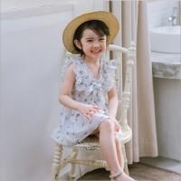清新~女童棉麻收腰连衣裙 儿童韩版荷叶边背心裙2018夏装新款裙子