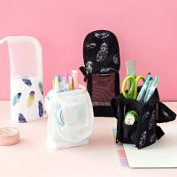 日本kokuyo国誉羽毛可立式笔袋网纱透明收纳文具袋可翻折个性笔袋