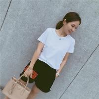 2017夏新品 亲子装经典黑白色母女装打底短袖T恤 男女童黑白T