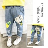 男童牛仔裤春秋潮裤宝宝裤子男1一3岁男童春秋破洞裤