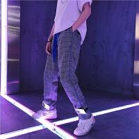 嘻哈运动休闲裤织带反光格纹男裤个性裤脚口魔术贴收脚长裤