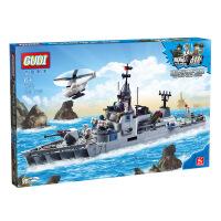 古迪gudi导弹护卫舰军事 启蒙益智组装拼插拼装塑料积木玩具8026