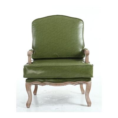 美式乡村布艺休闲单人沙发卧室客厅老虎椅子欧式实木小户型沙发椅#43 绿色 皮 沙发+脚蹬 部分金额是定制金,部分地区需补邮费,详询客服,私拍有权不发货。