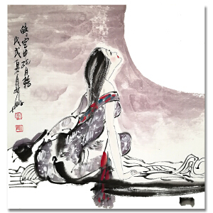 齐白石艺术研究会常务理事 薛林兴《人物4》LL317