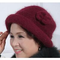 盆帽妈妈棉帽礼帽兔毛帽子 加厚保暖贝雷帽女士冬天老年帽老人帽女
