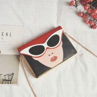 女包新款潮韩版时尚小方包美女眼镜包盒子包链条包单肩斜挎包 红色
