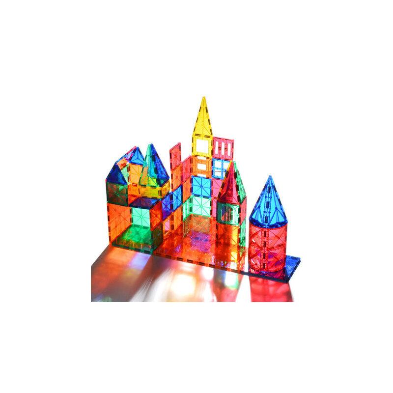 科博彩窗磁力片 儿童磁性积木玩具磁铁男女孩拼装益智3-6-8岁 大磁钢7种形状 纯磁力片48件-3个彩灯-送5片