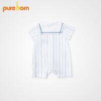 婴儿衣服夏季纱布爬服宝宝短袖哈衣初生儿连体衣