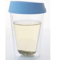 红兔子 耐热玻璃杯 硅胶盖茶杯 创意花茶杯子 蓝色