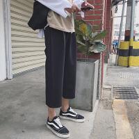 男士裤子夏季薄款学生色直筒休闲裤宽松九分阔腿裤