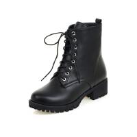 ELEISE美国艾蕾莎新品秋冬181-S127韩版超纤皮低跟女士短靴马丁靴